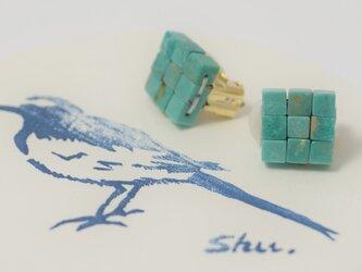 江戸の小袖™シリーズ(天然石・ターコイズ)  イヤリング(ハイライン)の画像