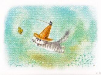 麦藁帽子をかぶった猫 たいやきの画像