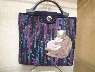 久留米絣の親子猫バッグの画像