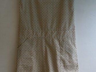 綿 生成 紺絣風 ノースリーブワンピース Mサイズの画像