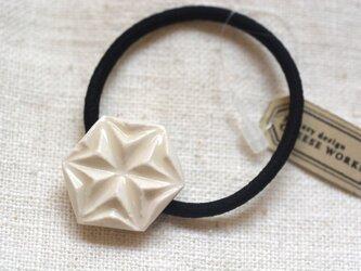 ヘアゴム 麻の葉 白の画像