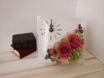 正方形flower時計(ピンク)の画像