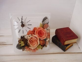正方形flower時計(オレンジ)の画像