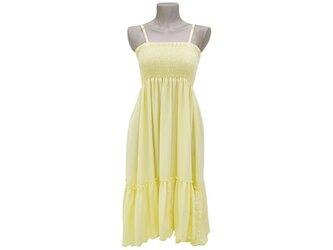花刺繍ドレス<パステルイエロー>の画像