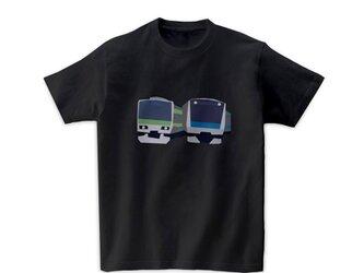 電車Tシャツ-京浜東北線・山手線(黒)の画像