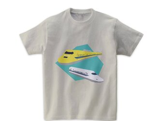電車Tシャツ-ドクターイエロー(薄グレー)の画像