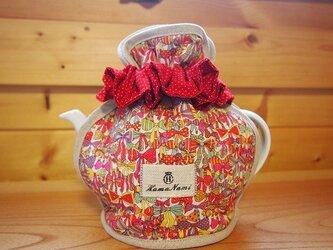 かわいいリボン柄のティーコゼ リバティ使用 Y46の画像