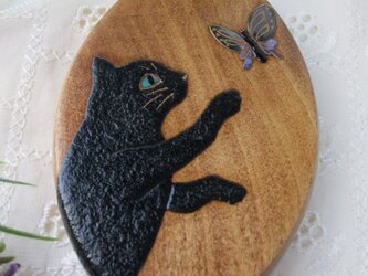 蒔絵手鏡 黒猫と蝶の画像