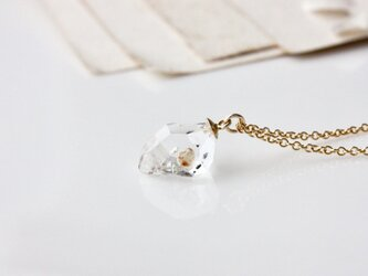 k14gf-蛍光・気泡入オイル・イン・クォーツの原石ネックレスの画像