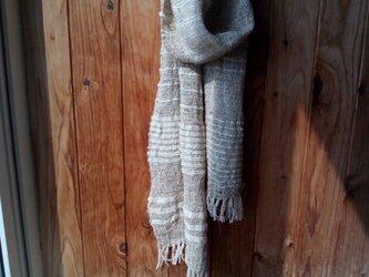 ワイルドシルク手織りマフラ-  ~ランダムボーダー~の画像
