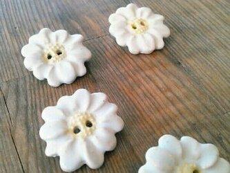 陶器釦(白花) ブローチの画像
