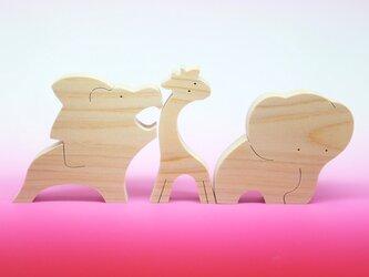 送料無料 木のおもちゃ 動物組み木 ぞうとキリンとライオンの画像