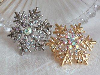 【送料無料】雪の結晶ピンブローチ/ラペルピン BRO-72(金/銀どちらが希望がお書き下さい)の画像