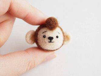 まゆおさる 携帯クリーナーストラップ※受注製作 羊毛フェルト(アクレーヌ製)の画像