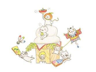 ねこさんポストカード 1月 2月(2枚セット)の画像