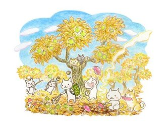 ねこさんポストカード 9月 10月(2枚セット)の画像