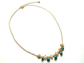ターコイズのお花ネックレス Flowering Turquoise Necklace N0005の画像