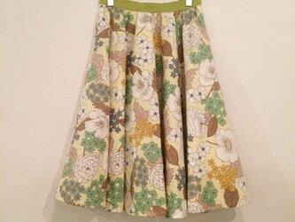 レトロ花柄サーキュラースカート 黄色×黄緑の画像