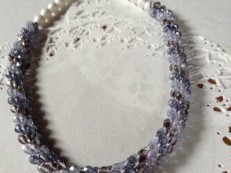 紫陽花色のクロッシェネックレスの画像