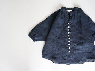 Linen button gather blouse 90,100の画像