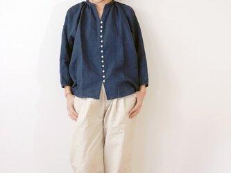 ◯予約商品◯Linen button gather blouseの画像