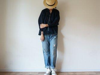 Linen button gather blouse 長袖 NAVYの画像