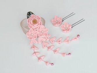 正絹 椿の髪飾り 【受注製作】ピンク Uピン花2輪  つまみ細工 かんざしの画像