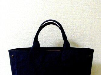 帆布×本革 カッチリ目トート ネイビーの画像