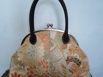 アンティーク古典柄丸帯・リメイクがま口バッグの画像