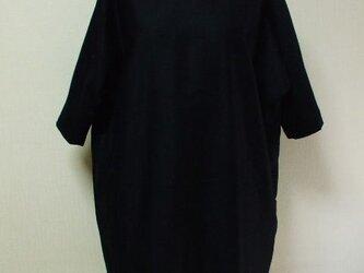 白丸衿6~7分丈ドルマンスリーブワンピース 両脇ポケット付き M~LLサイズ 黒 受注生産の画像