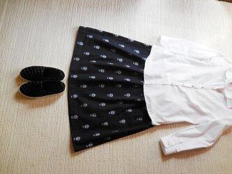 どくろの久留米絣のスカート ミディアム(濃紺)の画像