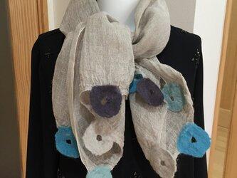 春夏用 リネンと羊毛のストール(mini )の画像