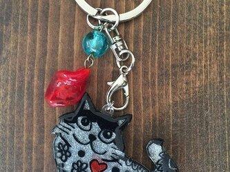 【SALE】猫のピカピカキーホルダーの画像