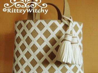【受注生産】特殊サイズ刺し子風トートバッグ(菱さし模様・ホワイト×帆布ベージュ)の画像