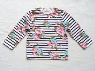 大きなバラの長袖ボーダーTシャツ (80cm)の画像