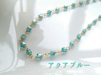 キューブガラス*ネックレス(アクアブルー)の画像
