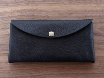 イタリア製牛革のシンプルな大きめ長財布  /  ブラック ※受注製作の画像