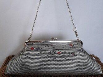 草木柄モダン織り名古屋帯・横長デザインがま口バッグの画像