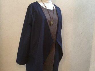 〈harugasumi様ご予約品、ハーフリネンのスプリングコート、ネイビーの画像