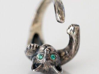 猫リング ピクシー(クリクリ瞳バージョン/エメラルド)の画像