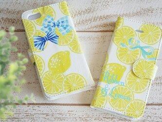 リボンとレモンのスマホケース/手帳型の画像