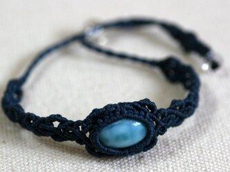 ラリマーのマクラメ編み 天然石ブレスレットの画像