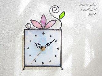 ステンドグラス*掛け&置き時計・虹色のロータス(17)の画像