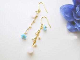天然石 ローズクォーツ&真珠ピアス Principessa Rose Quartz earrings P0029の画像