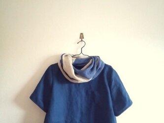 リネンの胸ポッケTシャツ*ディープブルーの画像