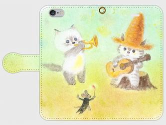 麦藁帽子をかぶった猫 音楽会 手帳型スマホケース iPhone6/6sの画像