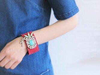 レザー カフ ビジューブレスレット vintage bijou bracelet <LC2-d>の画像