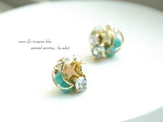 edy-t■moon & turquoise blueピアスの画像