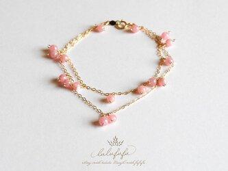 brillant bracelet◇インカローズの2連ブレスレットの画像