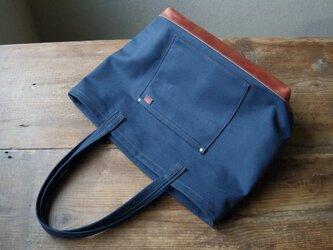 ■ nori. 帆布 + 革トート ブルー+ブラウンの画像